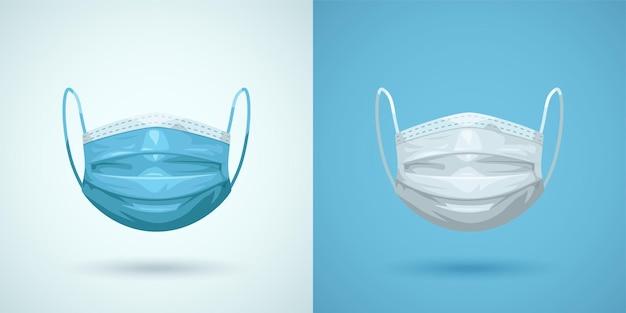 Иллюстрация пары медицинских масок для лица, изолированных вид спереди