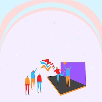 Иллюстрация пара на сцене громко объявляет небольшую толпу. рисование линий людей на заднем плане, продвигая сильную позднюю рекламу в немногих толпах.