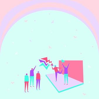 Иллюстрация пары на сцене, делающей новое громкое объявление в небольшой толпе людей