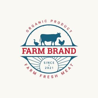 牛農場のロゴバッジのデザインコンセプトのイラスト