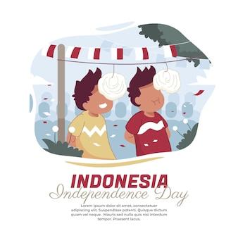 インドネシア独立宣言のハリでクラッカーを食べる競争のイラスト