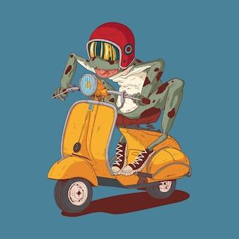 레트로 스쿠터를 타고 미친 개구리의 그림