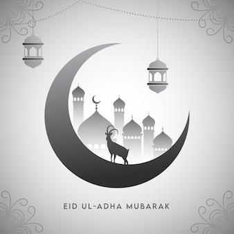 Иллюстрация полумесяца с мечетью, козой силуэта и вися фонариками на свете - серой флористической предпосылке.