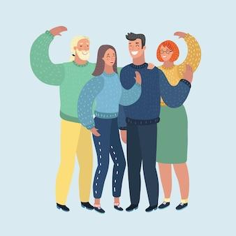 あなたに手を振っている群衆の人々の男性と女性のイラスト。白い背景の上の人間のキャラクター。