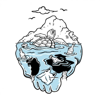 Иллюстрация плачущей черепахи в ловушке в грязном море