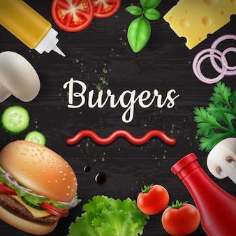 新鮮な食材と料理の背景のイラスト
