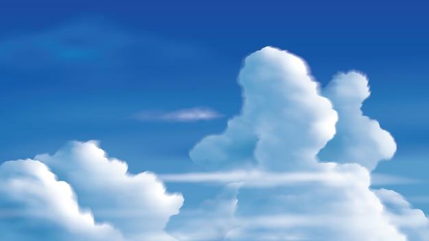 Иллюстрация кучево-дождевых облаков на ярко-синем небе