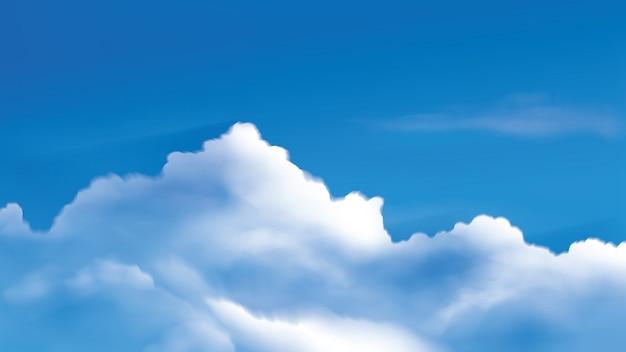 Иллюстрация кучевых облаков на ярком голубом небе
