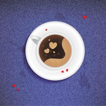 Иллюстрация чашки кофе на фоне джинсов