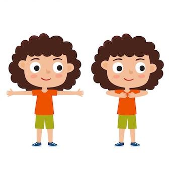 白い背景で隔離の運動ポーズで巻き毛の女の子のイラスト、足の肩の幅が離れて、腰に手します。