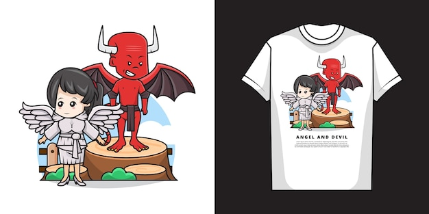 T 셔츠 디자인으로 귀여운 천사와 악마 캐릭터의 일러스트