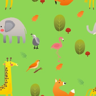 Illustration of cute animals in the field