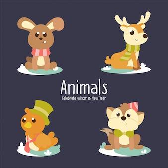 冬のかわいい動物、ウサギ、鹿、鳥、キツネのイラスト