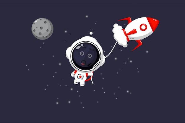 제트기로 날아간 귀여운 우주 비행사의 그림