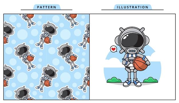 パターンとバスケットボールのコンセプトを遊んでいるかわいい宇宙飛行士のイラスト。