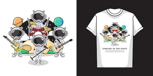 かわいい宇宙飛行士のコンサートプレイミュージックとフルバンドとtシャツのデザインで空間で歌うイラスト