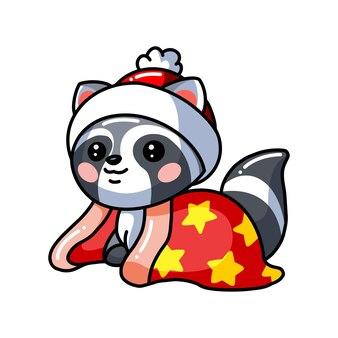 모자와 담요 귀여운 아기 너구리 만화 그림