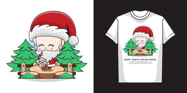 Tシャツのデザインでバブルティーを飲むかわいい赤ちゃんサンタクロースのイラスト