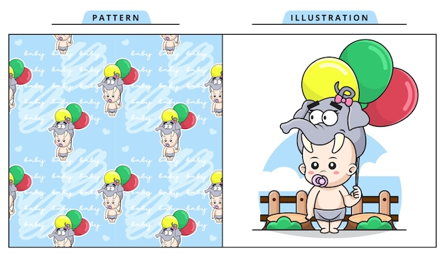 Иллюстрация милый ребенок в костюме слона и держит баллон с декоративным бесшовные модели