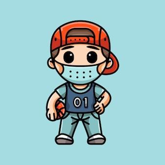 마스크를 쓴 귀여운 농구 선수의 그림