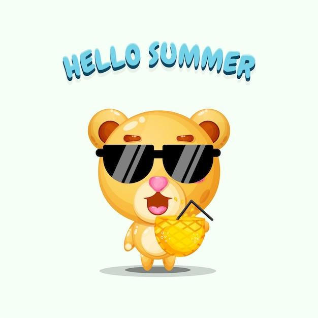 夏の挨拶でパイナップルジュースを運ぶかわいいクマのマスコットのイラスト