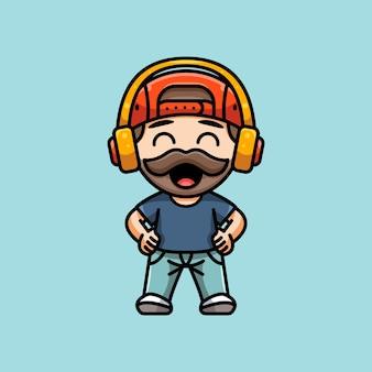 아이콘 스티커 캐릭터 로고 및 일러스트레이션을 위한 귀여운 수염 남자의 그림