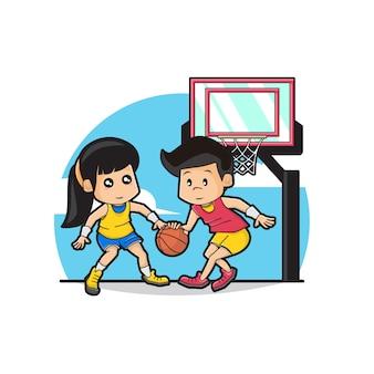 かわいい男の子と女の子のバスケットボールのイラスト