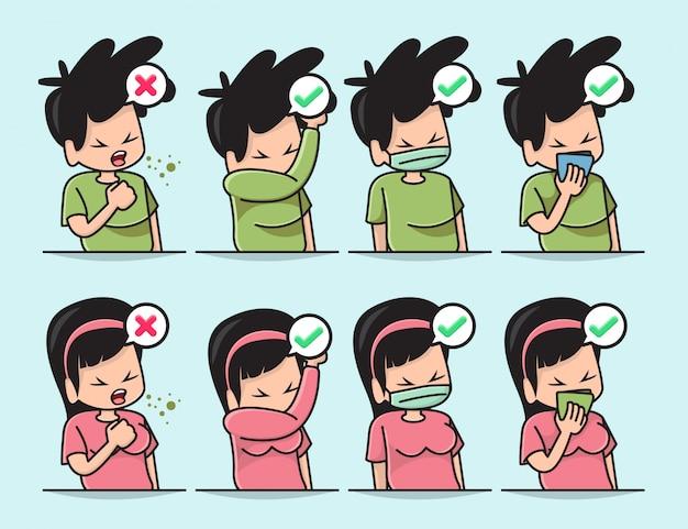 기침이나 재채기를 할 때 입을 가리는 올바른 방법으로 귀여운 소년과 소녀의 그림