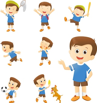Illustration of Cute boy many actions set