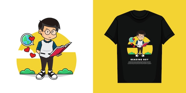 世界について本を読んでかわいい男の子のイラスト。 tシャツのデザインで。