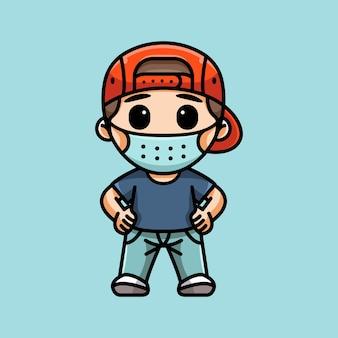 Иллюстрация милый мальчик с маской