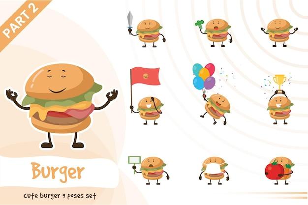 Иллюстрация набора позы милый гамбургер.