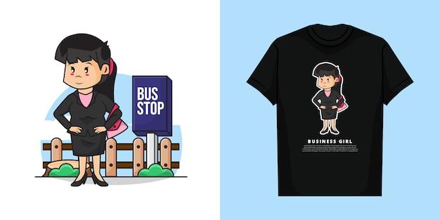 かわいいビジネスガールのイラストはtシャツのデザインでバスを待っています