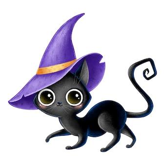 Иллюстрация милый мультфильм черный кот ведьма с фиолетовым шляпа волшебника