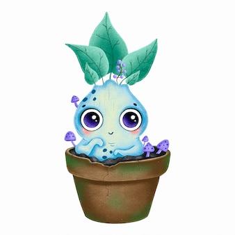 Иллюстрация милый мультфильм синий корень мандрагоры в цветочном горшке