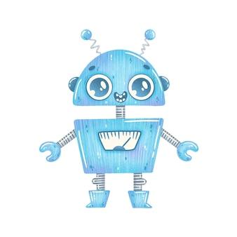 귀여운 만화 블루 로봇의 그림 흰색 절연