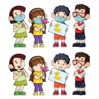 Иллюстрация милых мультипликационных детей в масках и без них