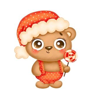 Иллюстрация милого мультяшного рождественского медведя в красной шляпе с леденцом