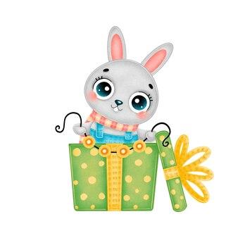 緑のギフトボックスに花輪ライトとスカーフを身に着けているかわいい漫画のクリスマスのウサギのイラスト