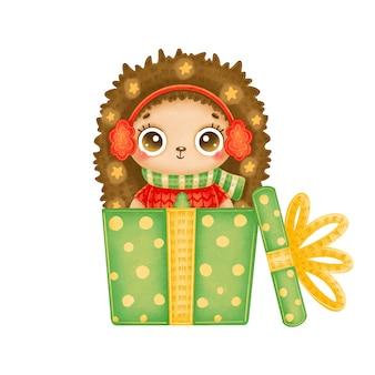 緑のギフトボックスに星と赤いセーターを着ているかわいい漫画のクリスマスハリネズミのイラスト