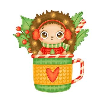 Иллюстрация милого мультяшного рождественского ежа в красном свитере со звездами в чайной кружке