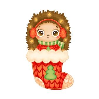 Иллюстрация милого мультяшного рождественского ёжика в красном свитере со звездами в красном рождественском носке