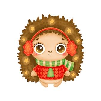 Иллюстрация милого мультяшного рождественского ёжика в красном свитере со звездами