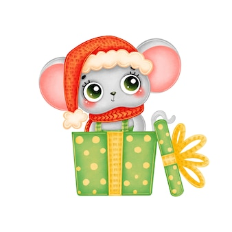 赤い帽子と緑のギフトボックスのスカーフでかわいい漫画のクリスマスマウスのイラスト