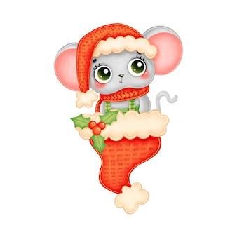 Иллюстрация милой мультяшной рождественской мыши в красной шляпе и шарфе в красной шляпе санта-клауса