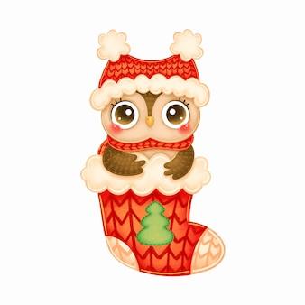 赤い帽子のかわいい漫画のクリスマスフクロウと赤いクリスマス靴下のスカーフのイラスト