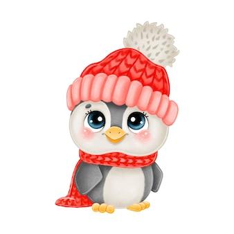 赤い帽子と白い背景で隔離のスカーフでかわいい漫画のクリスマスペンギンのイラスト