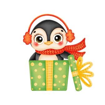 緑のギフトボックスに赤いスカーフを身に着けているかわいい漫画のクリスマスペンギンのイラスト