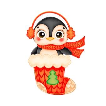 赤いクリスマス靴下に赤いスカーフを身に着けているかわいい漫画のクリスマスペンギンのイラスト