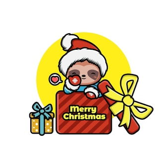 ギフトボックスにサンタの帽子をかぶってかわいい漫画のクリスマスナマケモノのイラスト
